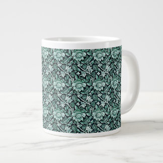 Art Nouveau Flower Pattern Shades of Green Large Coffee Mug