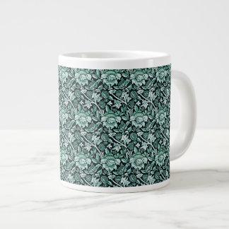 Art Nouveau Flower Pattern Shades of Green Large Coffee Mug