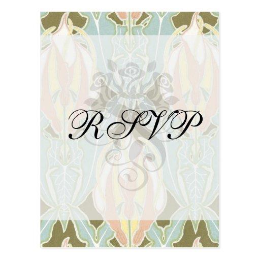 art nouveau flower vintage pattern postcards