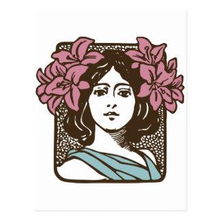 Art Nouveau Flower Woman Postcard