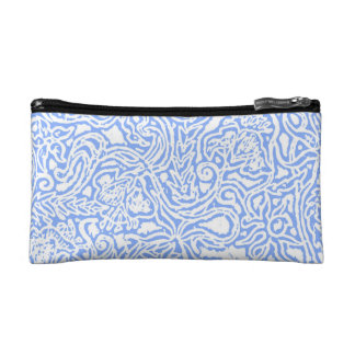 Art Nouveau Flowers in Blue Cosmetic Bag