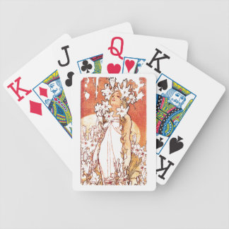 Art Nouveau Flowers Lady Woman Floral Nostalgia Bicycle Playing Cards