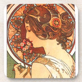 Art Nouveau Flowers Lady Woman Floral Nostalgia Coaster