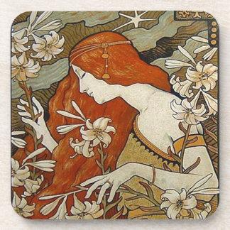Art Nouveau Flowers Lady Woman Floral Nostalgia Drink Coaster