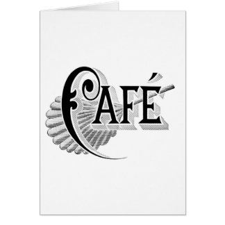 Art Nouveau French Cafe Coffee shop logo Greeting Cards