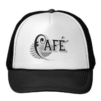 Art Nouveau French Cafe Coffee shop logo Mesh Hats