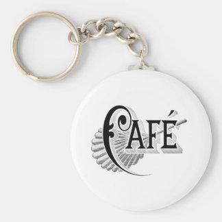Art Nouveau French Cafe Coffee shop logo Keychains