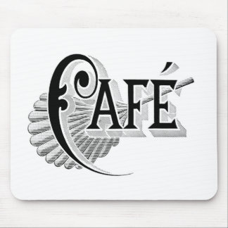 Art Nouveau French Cafe Coffee shop logo Mousepad