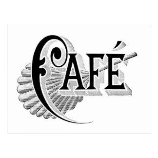Art Nouveau French Cafe Coffee shop logo Postcards