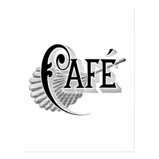 Art Nouveau French Cafe Coffee shop logo Postcard