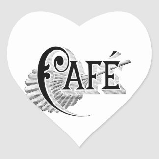 Art Nouveau French Cafe Coffee shop logo Heart Sticker