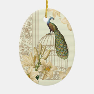 art nouveau  french lily vintage birdcage peacock ceramic ornament