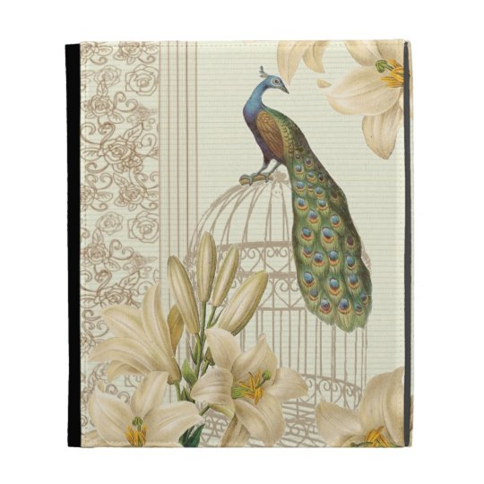 art nouveau  french lily vintage birdcage peacock iPad folio covers