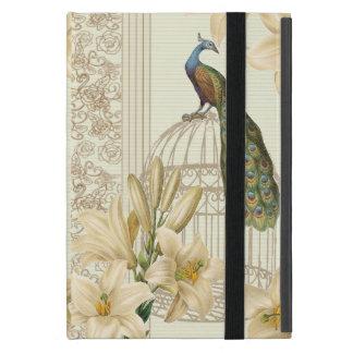 art nouveau  french lily vintage birdcage peacock iPad mini cover