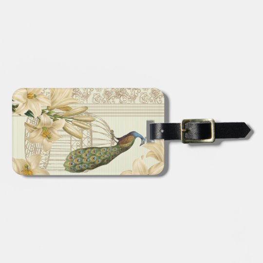 art nouveau  french lily vintage birdcage peacock luggage tag