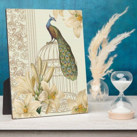 art nouveau  french lily vintage birdcage peacock plaque
