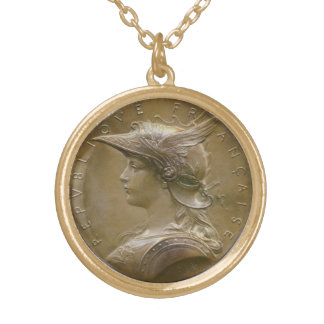 Art Nouveau French Medallion Gold Plated Necklace
