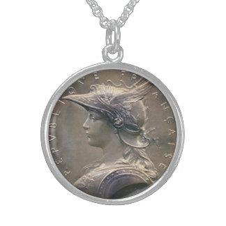 Art Nouveau French Medallion Sterling Silver Necklaces
