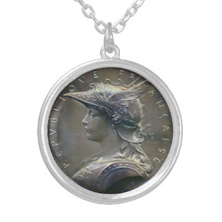 Art Nouveau French Medallion Silver Plated Necklace