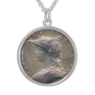 Art Nouveau French Medallion Sterling Silver Necklace