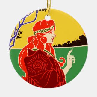 Art Nouveau Girl Ceramic Ornament