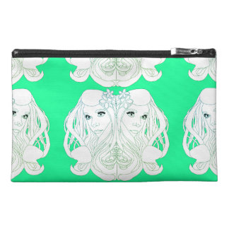 art nouveau girl head pocket travel accessory bag
