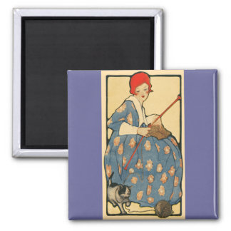 Art Nouveau -Girl knitting with her cat 2 Inch Square Magnet