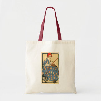 Art Nouveau -Girl knitting with her cat Budget Tote Bag