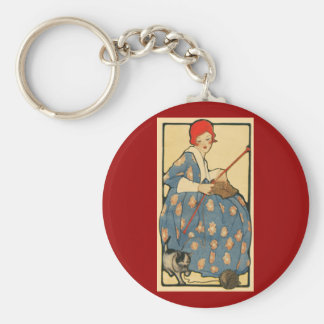 Art Nouveau -Girl knitting with her cat Keychain