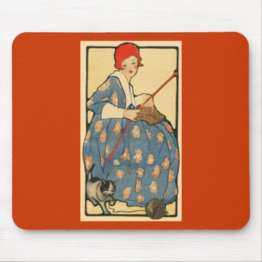 Art Nouveau -Girl knitting with her cat Mouse Mats
