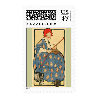 Art Nouveau -Girl knitting with her cat Postage