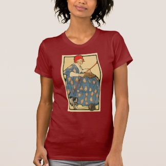 Art Nouveau -Girl knitting with her cat T-Shirt
