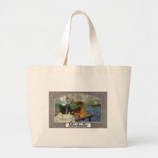 Art Nouveau Girl, Wheelbarrow, & Pier Jumbo Tote Bag