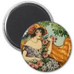 Art Nouveau Girl with Flowers Fridge Magnets