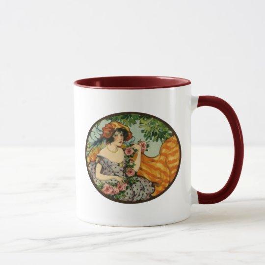 Art Nouveau Girl with Flowers Mug