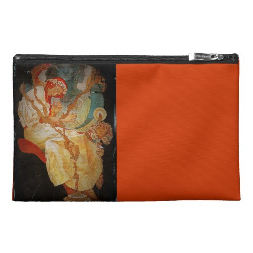 Art Nouveau Girl with Harp 1903 Travel Accessory Bags