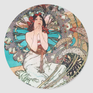 Art Nouveau Goddess Classic Round Sticker