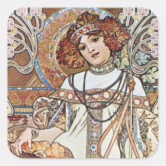 Art Nouveau Goddess Square Sticker