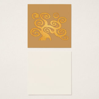 art nouveau golden swirls tree of life square business card