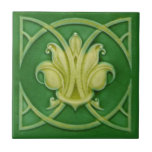 Art Nouveau Gothic Green Fleur de Lis Repro Tile<br><div class='desc'>The Art Nouveau style began in the last decade of the 19th century and lasted until WWI. Art Nouveau is,  in many ways,  an outgrowth of the Arts &amp; Crafts movement. Art Nouveau tiles feature stylized designs with flowing curves based on natural forms.</div>