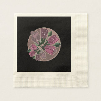 Art nouveau green and dusty pink floral print napkin