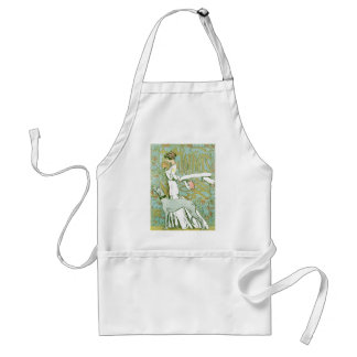 Art Nouveau Greyhound and Lady with Flower Adult Apron