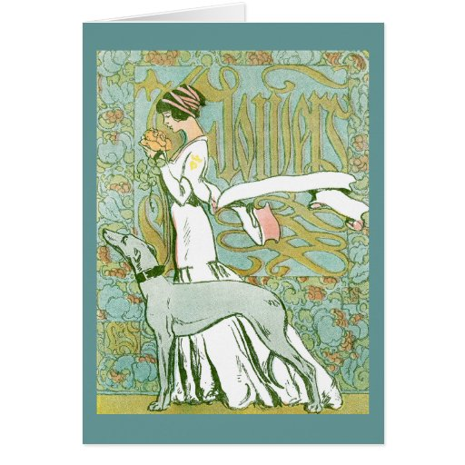 Art Nouveau Greyhound and Lady with Flower Card