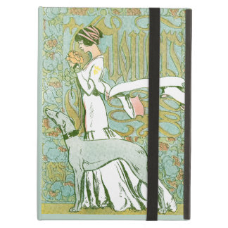 Art Nouveau Greyhound and Lady with Flower Cover For iPad Air