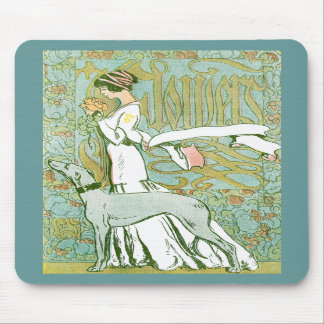 Art Nouveau Greyhound and Lady with Flower Mousepads