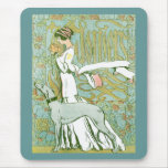 Art Nouveau Greyhound and Lady with Flower Mouse Pad