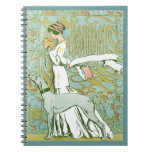 Art Nouveau Greyhound and Lady with Flower Spiral Note Book