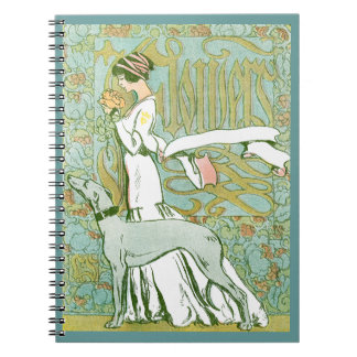 Art Nouveau Greyhound and Lady with Flower Notebook