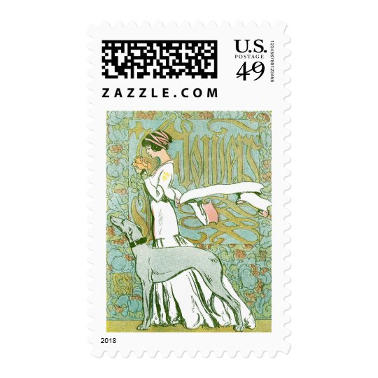Art Nouveau Greyhound and Lady with Flower Postage