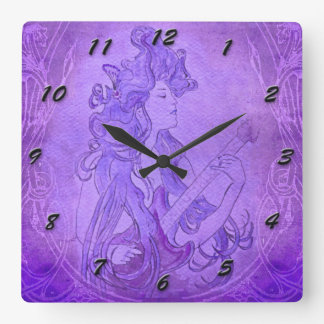 Art Nouveau Guitar Girl Vintage Clock Purple